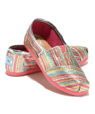 TOMS Pink Glitter Striped Youth Classics Shoes. Style 001013C12/SVLPT