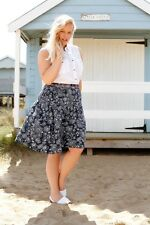 Plus Size Navy A-Line Midi Skirt With Neon Stitch Border & Floral Print