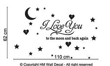 NEW I Love You to The Moon and Back DIY Removable Wall Decal