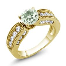 1.94 Ct Round Green Amethyst 18K Yellow Gold Plated Silver Ring