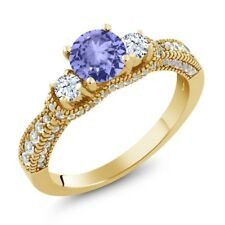 2.17 Ct Round Blue Tanzanite White Topaz 18K Yellow Gold Plated Silver Ring
