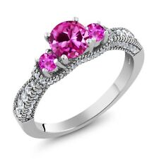 2.25 Ct Round Pink Created Sapphire Pink Sapphire 925 Sterling Silver Ring