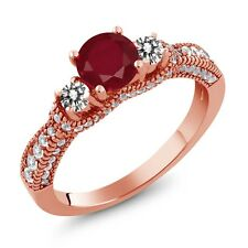 2.19 Ct Round Red Ruby White Diamond 18K Rose Gold Plated Silver Ring
