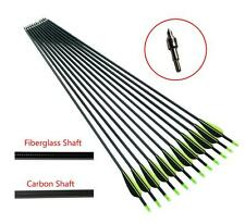 "32"" Archery Carbon Fiberglass Arrows Field Points 7.6mm For Target Recurve Bow"