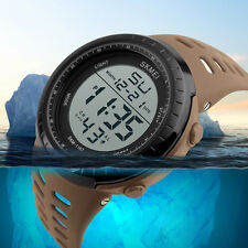 Mens Boys LCD Digital Date Alarm Waterproof Rubber Sports Army Watch Wrist Watch