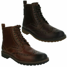 MENS CLARKS LACE UP BROWN LEATHER CASUAL BROGUE ANKLE BOOTS MONTACUTE LORD