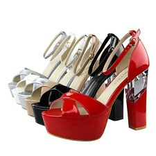 Chic Womens Open Toe Strappy Platform Transparent Block High Heels Shoes Sandals
