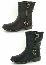 F50073 LADIES MID CALF LENGTH BIKER BOOTS WITH BUCKLE TRIM AND ROUND TOE
