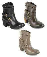 LADIES HUSH PUPPIES MOORLAND LEATHER COWBOY STYLE ZIP FASTENING ANKLE BOOTS