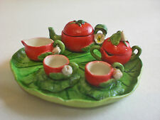 Tiny decorative dollhouse miniature teaset~TOMATO TEA SET~CUTE
