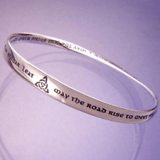Sterling Silver Mobius Irish Blessing Bracelet - May the Road Rise to Meet You