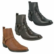 MENS A3003 LEATHER LOW HEEL RING STRAP SIDE GUSSET COWBOY ANKLE BOOTS MAVERICK