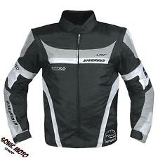 Mens Waterproof Textile Motorcycle Biker Nylon Fabric Jacket CE Grey