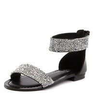 New I Love Billy Shelina Black Smooth/Silver Women Shoes Casuals Sandals Flats