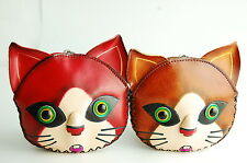 Genuine cowhide leather coin purse handmade Kitty Cat animal keychain wallet