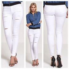 NEW WOMENS LADIES STRETCH SLIM FIT SEXY SUPER SKINNY EXTREME RIPPED WHITE JEANS