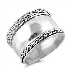 Sterling Silver 925 LADIES MEN'S HANDMADE BALI BRAIDED DESIGN RING 14MM SIZE5-12