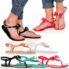 Ladies  Buckle Flat Toe Post Bow Chain Detail Jelly Beach Sandals  3-8 UK