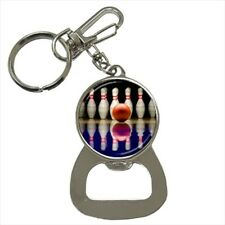 Bowling Bottle Opener Keychain and Beer Drink Coaster Set