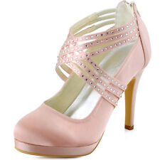 Women Party High Heels Closed Toe Rhinestones Strappy Satin Evening Dress Pumps