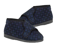 Mens Navy Blue Superwide EEEE Fit Washable Velcro Bootee Slippers Sizes 6 - 13