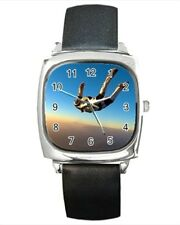 Sky Diving Round & Square Leather Strap Watch