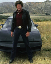 Knight Rider David Hasselhoff All Black Front of Car & Mountains Poster or Photo