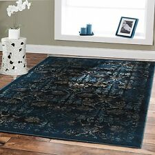 Large Area Rugs 8x10 Abstract Carpet Navy Floral Rug Multiple Size Living Room