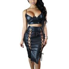 Sexy Strappy Hollow Out Bodycon Midi PU Two Piece Dress Hot Club Dress for Women