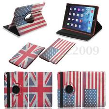 US/UK Flag 360 Rotating PU Leather Case Cover Swivel Stand For Apple iPad Air 5