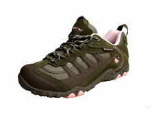 Hi Tec Penrith Ladies Taupe And Pink Suede Lace Up Mesh And Perforated Trainers