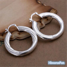 New Women Fashion 925 Silver Plated Hoop Studs Dangle Earrings Jewelry Gifts