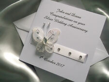 Personalised Silver/Diamond 25th/60th Wedding Anniversary Card