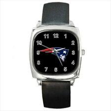New England Patriots Round & Square Leather Strap Watch - Football NFL