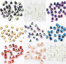 New 2mm Faceted Square Cube Cut Glass Crystal Charm Finding Loose Spacer Beads