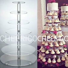 7 Tier Clear Round Maypole Acrylic Round Cupcake Stand Display