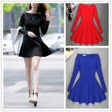 C430 Fashion Women's Solid Horizontal Collar Dress Slim Long Sleeve Bubble Skirt
