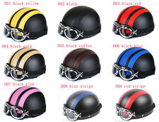New Open Face Bicycle Motorcycle Scooter Leather Helmet Goggle/Visor 9 Color