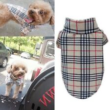 2016 Pet Dog Puppy Plaid T Shirt Lapel Coat Cat Jacket Clothes Apparel Costume.