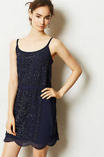 Anthropologie Camille Slip Dress Size L, Navy Blue Beaded Scalloped, By Greylin