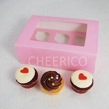 25 Counts of Window Pink Cupcake Box with 6 Cupcake Holder($1.40 Per Set)