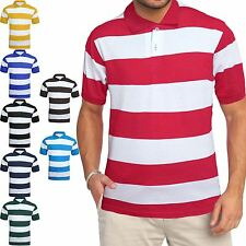 MENS THICK STRIPED POLO SHIRT SHORT SLEEVE TOP TEES PIQUE T SHIRT SUMMER CASUAL