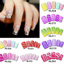 DIY White Lace 3D Flower Nail Art Stickers Water Decals Tips Transfers Manicure