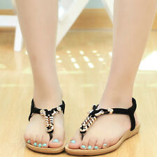Women Summer Flat Sandals Beach Thong Shoes Bohemia Beads Slippers Flip Flops