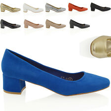 NEW WOMENS LOW MID BLOCK HEEL SLIP ON LADIES CASUAL PARTY PUMPS COURT SHOES
