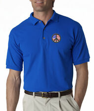 Peace Symbol American Flag Chest USA Pride Embroidered Polo Shirt S-3XL