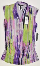 BCBG Max Azria Sleeveless Blouse Top Paint Strokes Multi Ruched Sides NEW 5804