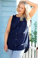 Plus BURNHAM BAY Navy Embroidered Detail Sleeveless Blouse 16-36