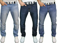 Enzo Mens Designer Branded Regular Fit Straight Leg Belted Denim Jeans, BNWT