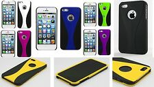 1X 3-PIECE DUAL COLOUR HARD CASE COVER SKIN FOR APPLE IPhone 5 5S 5G (7 colors)